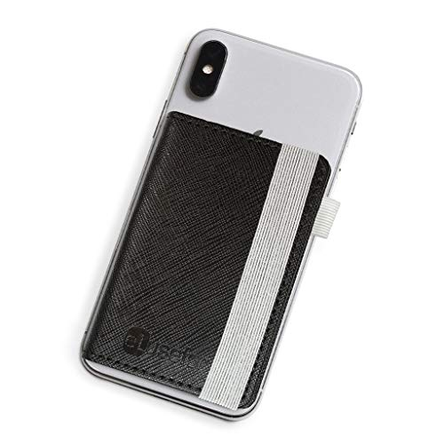 Stick-On Phone Wallet for Back of iPhone or Android Case | 6 Sleeve Credit Card Holder - Pocket for Cards, Money & ID - Built-in Stand - Waterproof Material - Travel, Work & Life-Proof - Black