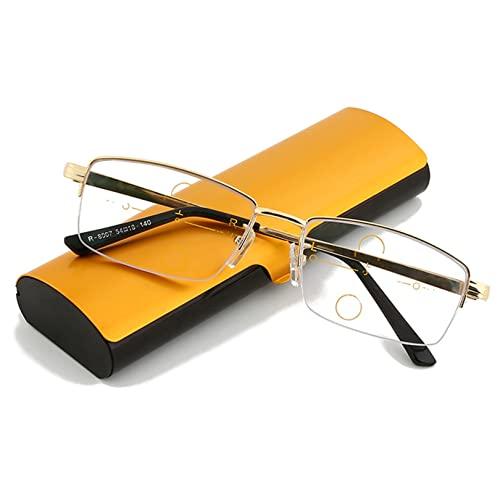 ZQKJLH Occhiali da Lettura ottici compatti con Montatura in Metallo, Occhiali progressivi multifocali lontani e Quasi-da- banco da banco- per Uomo (Size : +1.0)