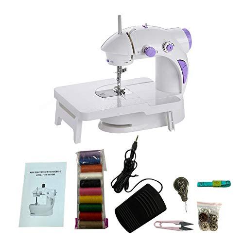 Mini máquina de coser eléctrica, velocidad automática con mesa de extensión, máquina de viaje, 12 puntadas, reparación manual para el hogar (201)