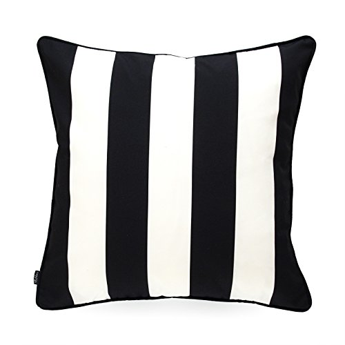 Hofdeco Indoor Outdoor Pillow Cover ONLY, Water Resistant for Patio Lounge Sofa, Black White Stripes, 18'x18'