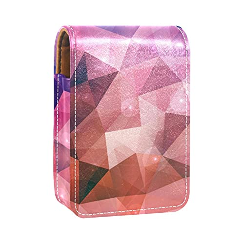 Estuche de lápiz labial con fondo poligonal, color rosa, azul y morado para pintalabios, bolsa de cosméticos de viaje con espejo para mujer, toma hasta 3 pintalabios