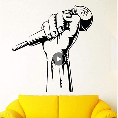 Vinilo Tatuajes de pared Micrófono Mano Etiqueta de la pared Karaoke Club Decoración Rap Battle Singer Arte de la pared Mural Música Fondo de pantalla 57 * 61Cm