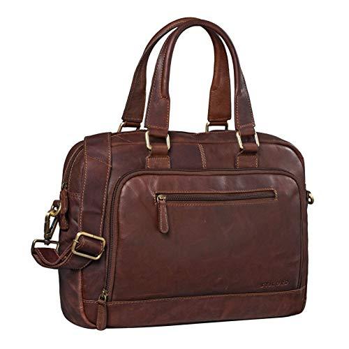 STILORD 'Catherine' Leder Businesstasche Damen 13.3 Zoll Laptoptasche MacBook Bürotasche Vintage Aktentasche Umhängetasche Handtasche Arbeit Echtleder, Farbe:Cognac - Dunkelbraun