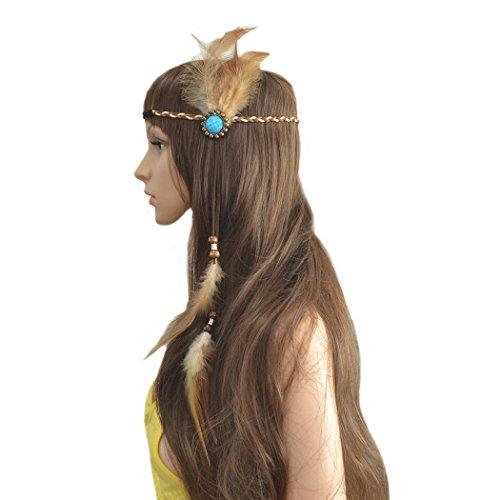 Tukistore bandeau de plumes serre-tête, bande de cheveux de plume armure de cheveux coiffe bohème tribal indien hippie coiffure accessoires de cheveux pour le costume de mascarade festival de carnaval