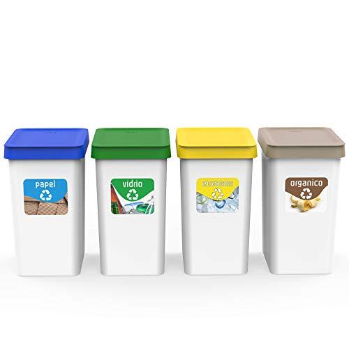 USE FAMILY Recycle Papeleras Reciclaje 12L - 27x20x33 cm + 3 Pegatinas Reciclaje Apto Bolsas 10 L | Cubos basura ecologico Plástico Reciclable ( Orgánico,Papel, Vidrio y Plastico) (4 Compartimentos)