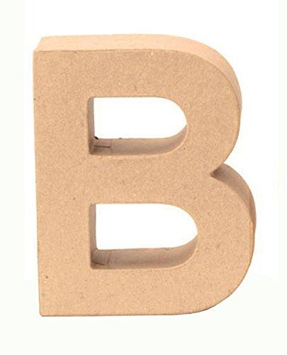 Glorex 6 2029 102 - Papp - Buchstabe B, Buchstabe aus brauner Pappe, ca. 17,5 X 5,5 cm groß, zum bemalen und bekleben, für Serviettentechnik und Décopatch, ideal als Dekoration