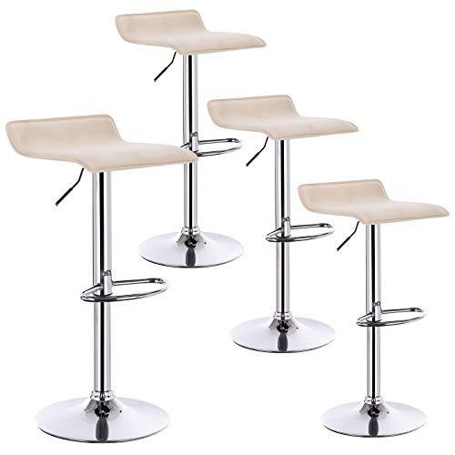 WOLTU 4er Set Barhocker Design Stuhl Drehstuhl Tresenstuhl,stufenlose Höhenverstellung, verchromter Stahl Kunstleder Cremeweiß BH11cm-4