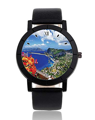 Mountain Houses Flowers Wrist Watch Leather Strap Watch Dress Casual...