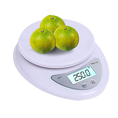 OKIJU Báscula Digital 5-10kg / 1g LCD Mostrar multifunción Digital Alimentos de Cocina Escala de Acero Inoxidable Escala de pesaje Herramientas de cocción Balance Báscula de Cocina (Color : Wh