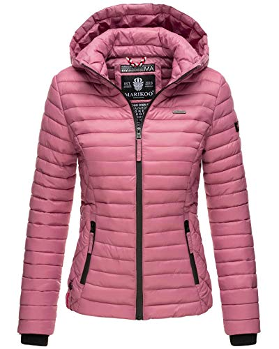 Marikoo Damen Jacke Steppjacke Übergangsjacke mit Kapuze gesteppt B600 [B600-Samt-Altrosa-Gr.S]