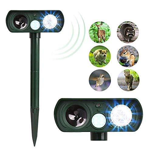 Animal Repeller, Ultrasonic Skunk Raccoon Deer Repeller, Solar Powered Outdoor Motion Sensor Expellent for Farm Garden Yard, Cats/Dogs/Foxes/Birds/Skunks/Rod Repeller