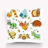 Funda de Almohada, Fundas de Almohada Decorativas Fundas de Almohada Funda de cojín para sofá Decoración para el hogar, Dibujos Animados Divertidos Insectos Bugs Set Colorful Collection CU