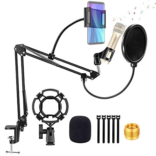 Guiseapue Brazo Microfono, Soporte para Micrófono con Araña Adaptador, Pie de Micro Soporte de Micrófono Filtro Pop para microfonos, Blue Yeti, etc.