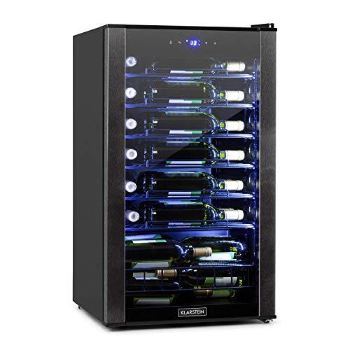 KLARSTEIN Vinomatica - Cantinetta Frigo per Vini, Capacità: 36 Bottiglie, 95 Litri, Temperature: 4-18 °C, Classe G, Pannello Touch, 6 Ripiani, Luce LED Interna, Posizionamento Libero, Nero