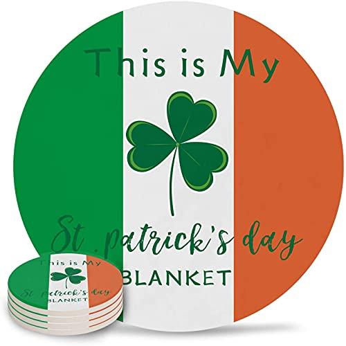 Posavasos para Bebidas Día de San Patricio Bandera de Irlanda con trébol Verde, Piedra Absorbente, Posavasos de cerámica con Respaldo de Corcho y sin Soporte para Tazas, Juego de 6 Piezas Colo