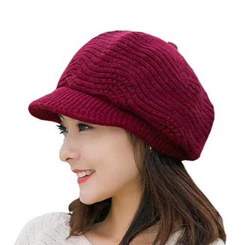SWEDREAM Sombrero Invierno Gorros de Punto Gorras para Mujeres Crochet Cálido Suave Sombreros de Esqui (Rojo)