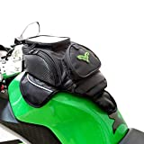 Tank Bag for Motorcycle, Magnetic Motorcycle Tank Bag Touchscreen Phone Bag Motorcycle Storage Pouch (Black w/Green Logo)