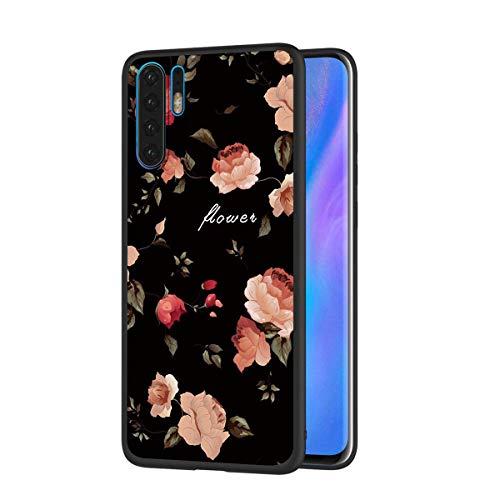 Eouine Capa para celular Huawei P30 Pro, capa de telefone de silicone preta com padrão ultrafino, à prova de choque, capa traseira de gel macio, capa protetora para smartphone Huawei P30 Pro (flores)