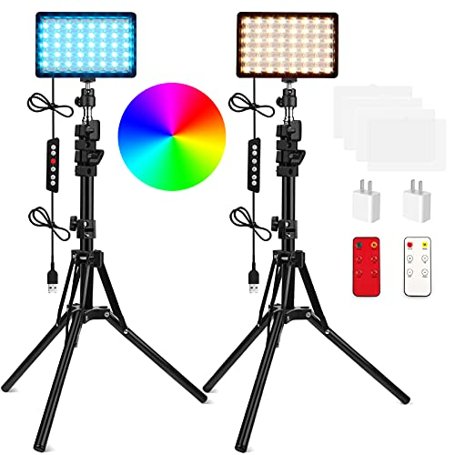 QEUOOIY 2 Packs RGB LED Video Light with Adjustable Tripod Stand/White Filters, Dimmable 2500-6500K USB Video Conference Lighting Kit for YouTube Photography/Game Zoom Live, Streaming,TikTok, 1.6M -  Q-RGB-2Dxiankong-1.6M