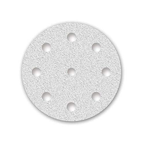 MENZER White Discos Abrasivos con Velcro, 125 mm, 9 Agujeros, Grano 320, para Lijadoras Roto Orbitales, Corindón Normal con Estearato (50 Piezas)