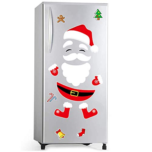 Christmas Refrigerator Magnets Santa Claus Refrigerator Magnets for Fridge, Metal Door, Garage, Office Cabinets (Large)