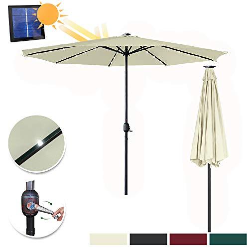 Aufun Sombrilla con sombrilla de jardín LED Ø350 cm con manivela Hecha de poliéster protección Solar protección UV 40+, sombrilla para balcón, terraza y jardín, Redonda, 8 puntales, 32 LED, Beige