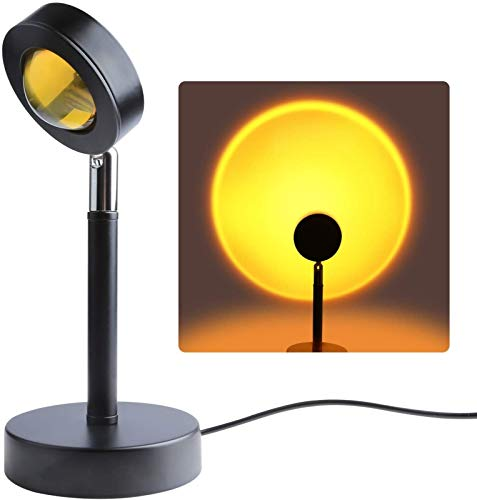 QAZW Lámpara Sunset, Lámpara de Proyección Sunset, Luz de Puesta de Sol Recargable USB Giratoria de 180 °, Noche Romántica Visual Led para Niños Adultos,Sun