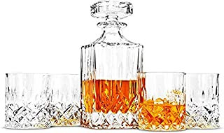 Whiskey Carafe and Glasses Set, 750 Ml Decanter with 4 Lead-Free Crystal Glasses 300 Ml. 5-Piece, Whiskey Lovers