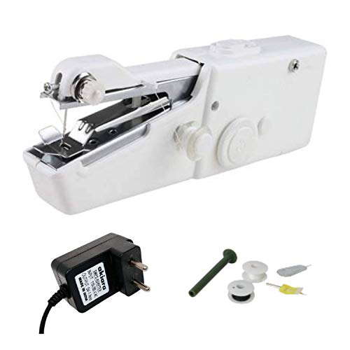 akiara - Makes life easy Electric Hand Sewing/Stitch Handheld Cordless Portable White Sewing Machine for Home Tailoring, Hand Machine | Mini Silai Machine with Adapter