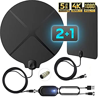 [2021 Version] Digital TV Antenna Indoor Amplified - Support 4K 1080p 120-150 Miles Range - HD Antenna for TV - Freeview Local HDTV Channels with Amplifier Signal Booster 4K 2 Pack Antennas - Fox TV