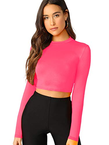 Verdusa Women's Casual Slim Fitted Basic Long Sleeve Solid Crop Tee Top Hot Pink M