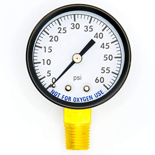 Super Pro 80960BU Pool Spa Filter Water Pressure Gauge, 0-60 PSI, Bottom Mount, 1/4-Inch Pipe Thread