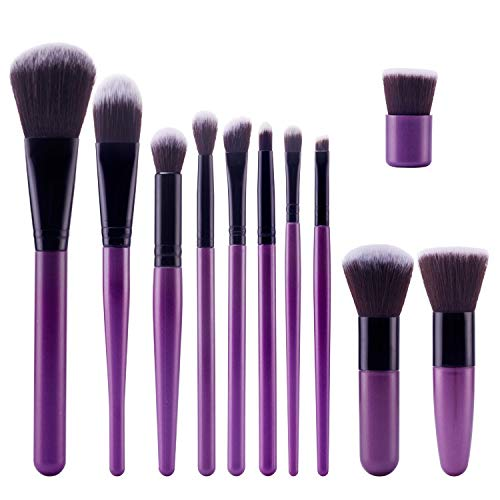 Skjfdmiy Violet 11 bâtons de maquillage brosse de qualité supérieure synthétique Kabuki Fondation Poudre fard à joues fard à paupières Brosses pinceau de maquillage Kit maquillage doux pelage épais Ro