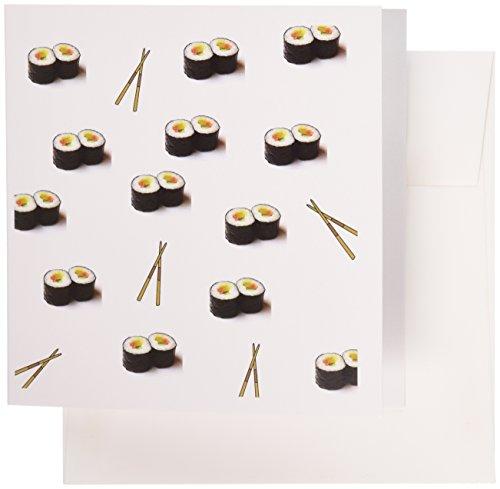 3drose Set von 12Grußkarten, Kunstdruck von Sushi mit Stäbchen in Wiederholen Muster (GC 182577_ 2)