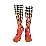 Funny Funky Long Socks Over Calf, Crazy Boot Socks No Slip and Skin-friendly, Skate Outdoor Sports Socks for Boys Girls, Flame Fire Checkered