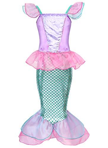 Jurebecia Le Ragazze in Costume da Sirena Si Vestono Festa di Compleanno di Lusso Vestito Cosplay Abiti per Bambini 5-6 Anni Rosa
