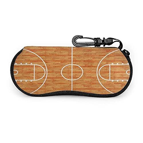Brillenetui für Sportliebhaber, Basketball, Parkett, Brillenetui, hochwertig, leicht, tragbar, mit Reißverschluss, für Sonnenbrillen, weiches Etui