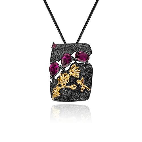 Collar con colgante de mujer de plata esterlina 925 con granate de rodolita natural hecho a mano con flor de abeja y jardín Floral