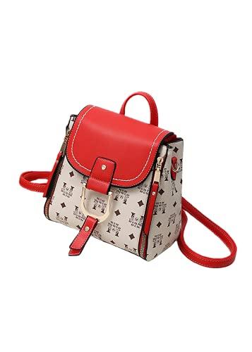 Bolso de Mensajero para Mujer Bolso de Cuero Impermeable de PU, Elegante Bolso de Hombro con Correa Ajustable para el Hombro, se Puede Usar como Mochila (Red,8.66 * 5.51 * 12.99in)