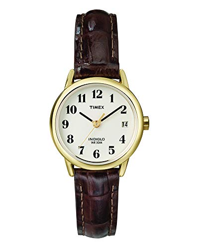 Timex Women's T20071 Indiglo Leather Strap Watch, Brown Croco/Gold-Tone