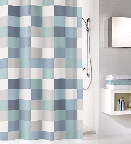 Kleine Wolke Check Duschvorhang, Textil PES, Mare, 180x200 cm
