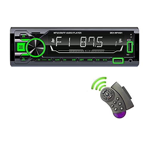 TOYOUSONIC Radio Coche Bluetooth 7 Colores Estéreo de Coche Soporte BT Llamadas Manos Libres Reproductor de MP3 con Radio FM/Dual USB/Tarjeta TF/AUX-IN/Control Remoto del Volante