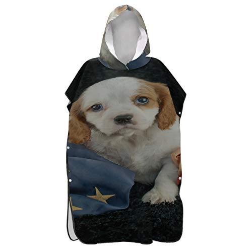 Yushg Hund Welpe Flagge kombinieren Poncho Handtuch für Erwachsene Hoodie Handtuch Surf Poncho Badetuch Poncho Erwachsene zum Surfen Schwimmen Baden One Size Fit All
