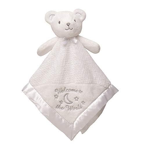 Little Me Plush Rattle Baby Snuggle Blanket with Embroidery and Satin, Bear