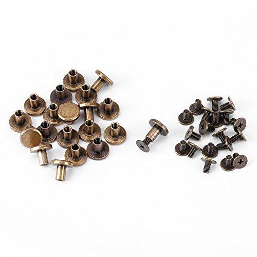 Flachkopfnieten, 20 Stück Flachkopf Kupfer Messing Schrauben Muttern Nägel Nieten Lederkappe Zubehör(8mm)