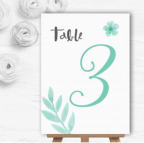 Watercolor Subtle Teal Mint Groen Gepersonaliseerd Wedding Table Nummer Naam Kaarten 15 x Small A6