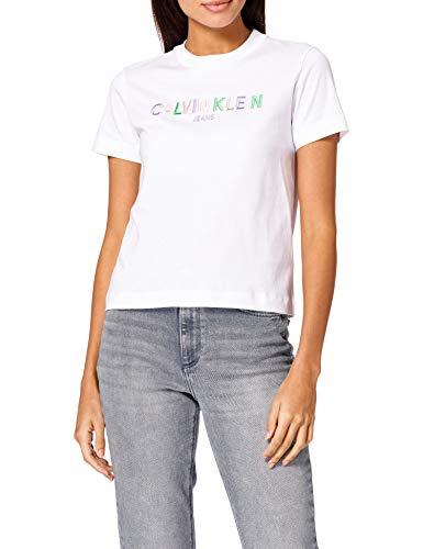 Calvin Klein Jeans Multicolored Logo tee Cuello extendido, Blanco Brillante, S para Mujer