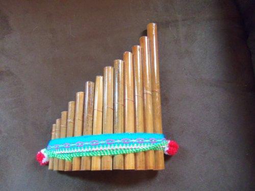 "Bamboo Curved Beginner's Style Pan Flute Varnished Antara Siku 13 Pipe 7"" x 5"""