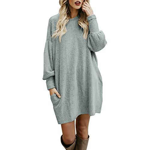 iHENGH Damen Winter Warm Bequem Pullover Mantel Lässig Mode Frauen Solide Oansatz Tasche Lange Langarm Lässige Lose Jacke Coat(Grau,M)