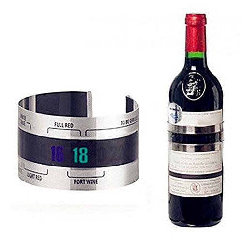 Livecity mit Thermometer rot Temperatur-Sensor für Bier Wein Trauben, edelstahl, silber, Mini